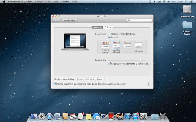 MacBook Pro Retina 13risoluzione massima