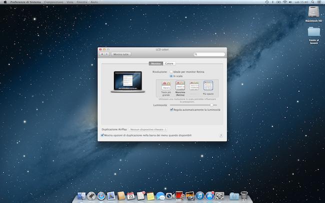MacBook Pro Retina 13risoluzione piu spazio