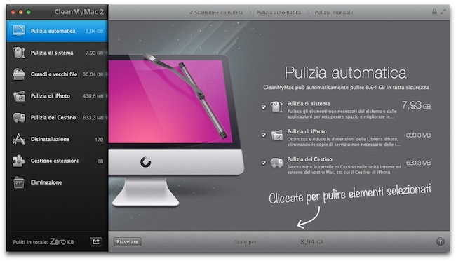 CleanMyMac 2 scansione
