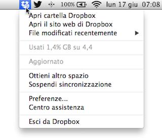 Dropbox vecchio menu