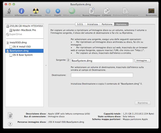 OS X Mavericks unita installazione avviabile